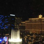 View of the Bellagio fountain from the room/bed