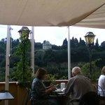 Terraza del Restaurante vista a los jardines de Boboli