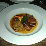 another view of the duck breat. and farro entree