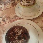 Souflês de chocolate e de pistache