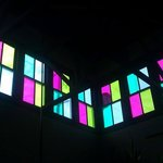 Colored glass skylights