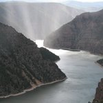 Flaming Gorge and river at sunset