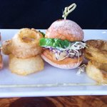 Sliders and onion rings - yum!
