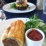 Sausage roll (pork, apple, carrot, other yumminess) and amazing salmon thing from the specials b