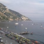 View from balcony looking over beach and towards Positano