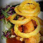 Bangers & Mash with crispy onion rings
