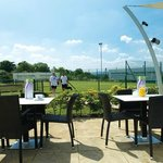 The outside patio seating, next to the club room