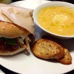 pulled chicken bap and sweet potato soup