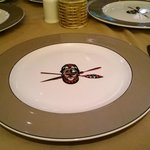 Plates branded with Trader Vic's logo
