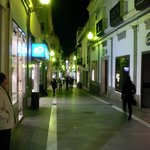 The pedestrian shopping stree just one block from the hotel