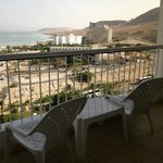 view of the dead sea and other hotels from my balcony