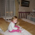 Our daughter relaxing after a windy wet night looking at the illumanations