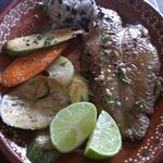 red snapper with beans & rice