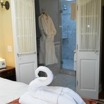 Here's just a glimpse of one of the bathrooms.  Loved the towels shaped like swans in the rooms!