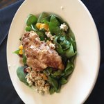 Pecan crusted chicken spinach salad