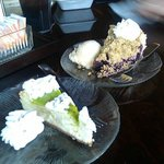 Key lime cheesecake and blueberry crumb pie.