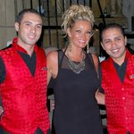 Me with our waiters in the Caligula Restaurant.....Alaa and Khaled