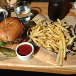 Short rib burger with truffle fries.