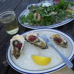 BBQ oysters and Rock Cod Tacos