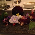 Foie Gras in beetroot jelly.