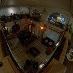 Vista aérea do lobby e área de convivência