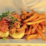 Catfish po-boy with cracked black pepper fries.