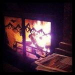 The bar's FAB fireplace....