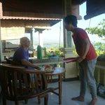 Breakfast being delivered on the verandah