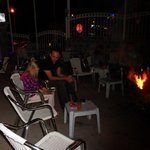 The outside area of the bar - fire pits are used in the evenings as it gets very cold