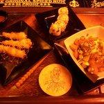 Delicious cocnut shrimp and cali poke salad