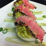 Wasabi Deviled Eggs with Seseme Seared Tuna