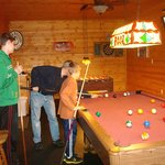 Pool table in converted garage