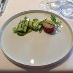 Lunch: Voorgerecht Rundstartaar met Carpaccio van St. Jacobsschelpen, met kommkommer variaties
