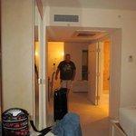 view from bedroom looking to door (note TWO bathrooms!)