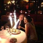 Beautiful wedding anniversary dessert the staff at Maxim's surprised us with!