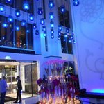 Lobby with flowers and blue lights