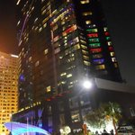 The colorful W hotel at night
