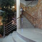 Marble stairs, local stone and chrome marry well