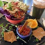Purple burrito plate, #5 sweet green juice