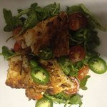 Grilled grouper with spicy habenero tomato jam and arugula