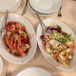 Lobster Catalana (right) and Sardinian style - both great