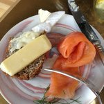 smoked fish, cheese & bread: breakfast buffet, my selections