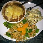 Last night's dinner - French onion soup, Chinese chicken salad, potato and pea salad, honey bana