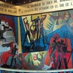Mosaico que homenageia o desbravamento da Amazônia Equatoriana.