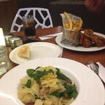 Capers Paperdelle and Chicken & chips
