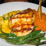 Grilled Jamaican Jerk Chicken marinated in mild jerk seasonings with mango pineapple salsa, home