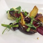 Pigeon with beet root and game crisps
