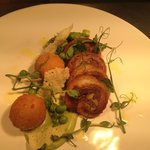 Breast of lamb, pea risotto balls and shoots