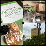 a collage of photos from Green Mango Cafe
