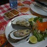 fresh oysters for 60 baht each